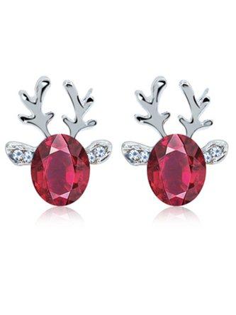 Women Crystal Gem Antler Earrings Fashion Christmas Gift Elk Earrings