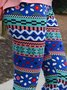 Multicolor Boho Cotton-Blend Tribal Sheath Pants