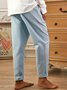 Grey-Blue Solid Casual Pants